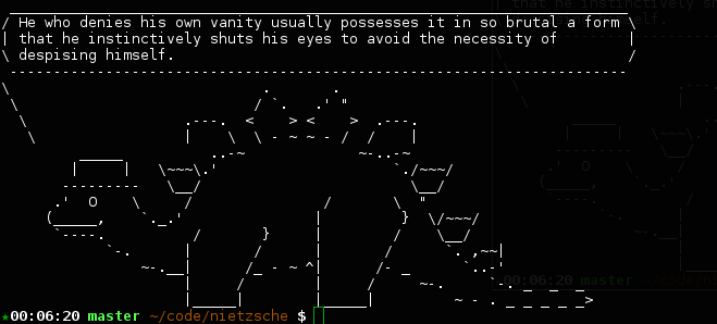 Terminal screenshot of Unix fortune plus cowsay quoting Nietzsche